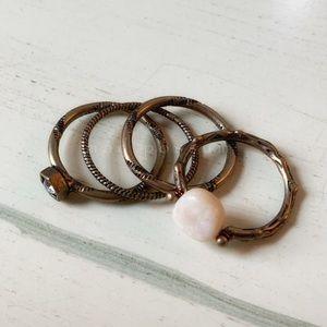 Boho Turkish Midi Ring Set 4 Pcs Burnished Gold